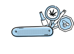 Illustration of a multi-tool with signs containing images of drugs
