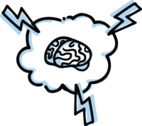 Illustration of a brain inside a cloud with lightning bolts