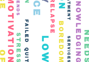 "An image of the inside cover of the Possibilities pack. Multicoloured words sit vertically down the page and include words like ""Knowledge"", ""Relapse"", ""Motivation"" and more."