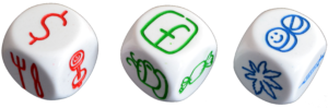 Image of 1 Red, 1 Green and 1 Blue Storytelling Dice