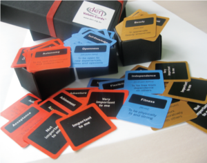 Picture of opened Value Card boxes, with three colours of cards spilling out.