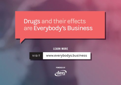 "Postcard image with textbox that reads ""Drugs and their effects are Everybody's Business"". Learn more: Visit www.everybodys.business"