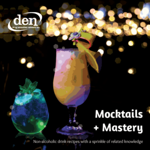 Cover of Mocktails + Mastery Resource. Features a green and yellow drink on a dark background with soft lights