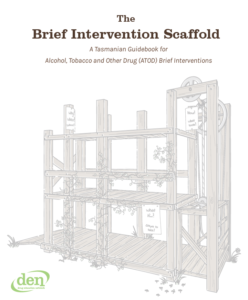 Cover page of the Brief Intervention Scaffold. Shows a pastel brown illustrated scaffold with a ramp and manual elevator, adorned with vines, below bold brown title text.