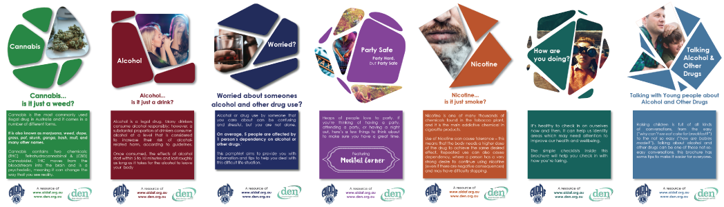 Front covers of the ALDAF/DEN suite of resources. Each brochure shows coloured shapres (dark blue, red, green, purple, teal, orange, and cyan) with stock images of people and substances at the top, with a coloured box with extra information at the bottom above the ALDAF and DEN logos.