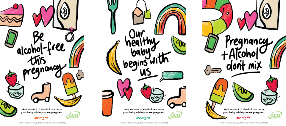 Three vertical postcards displaying pregnancy messages. The postcards are plain white with colourful hand-drawn symbols of foods, rainbows, and other items.