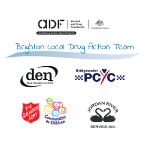 A white circle containing the ADF logo, the Brighton LDAT Logo, and the logos of all four LDAT partners.