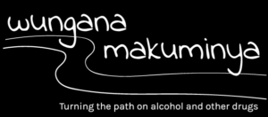 The wungana makuminya logo. White text and lineart on a black background. A handwritten font says 'wungana makuminya' above two wavy lines representing a turning path. The subtitle reads 'Turning the path on alcohol and other drugs'