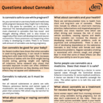 A screenshot of the Questions about Cannabis resource. Features black text on white and light orange blocks and a bright orange heading.